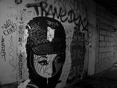 Délit de faciès (Gabri Le Cabri) Tags: blackandwhite woman paris pasteup night graffiti obey gap toto shepardfairey trane oeno dexa jamer yace alzo gkay 5t1k phacyes