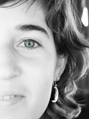Isabel (aidafis) Tags: portrait blackandwhite bw moon eye blancoynegro closeup cutout lumix ojo retrato luna bn panasonic isabel highkey sonrisa mirada glance diciembre clavealta desaturadoselectivo