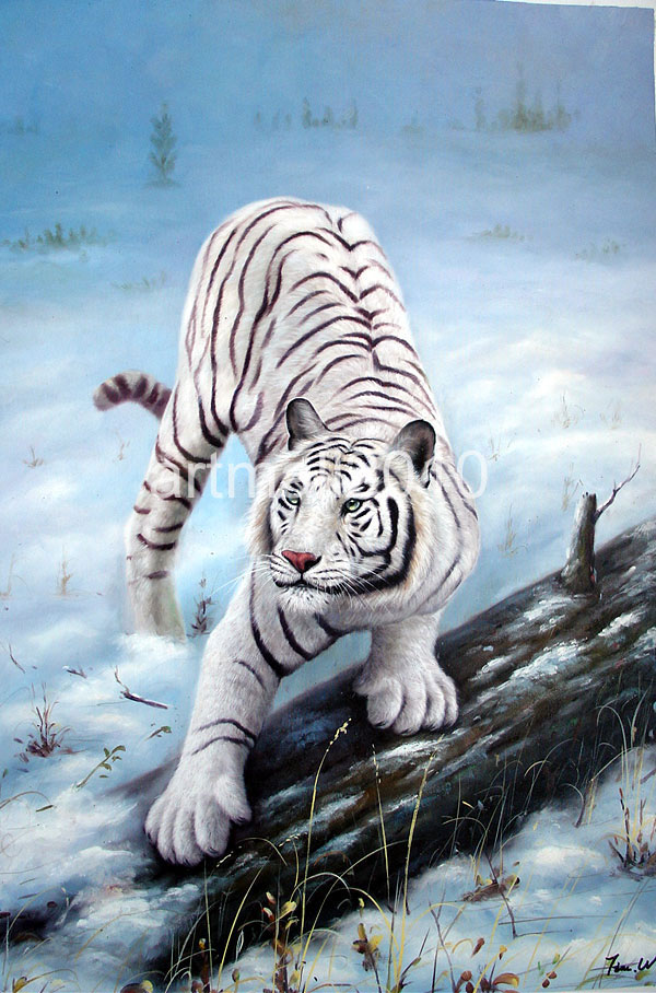 White Tiger Oil Painting
