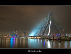Erasmus Bridge (DolliaSH) Tags: city longexposure bridge light people urban haven holland color building water colors skyline architecture night reflections river puente photography lights noche photo construction rotterdam europe cityscape foto nightshot photos nacht harbour nederland thenetherlands illuminated ponte most le pont brug maas brcke nuit kopvanzuid notte hdr stad 1022 erasmusbrug noch zuidholland brucke southholland photomatix tonemapping nachtopname visitholland canoneos50d detailsenhancer canon1022f3545usm photoshopcs4 dollia dollias sheombar dolliash