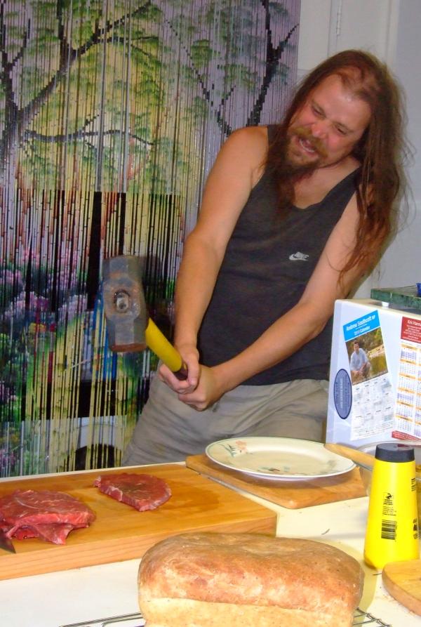 dave tenderizing a steak