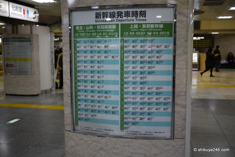 Taking a look at the Shinkansen schedule to Akita