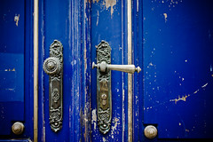 The Old Blue Door [Prague, Czech Republic] (elbelbelb2000) Tags: door blue prague czechrepublic doorhandle bluedoor dooropening doormacro handlemacro