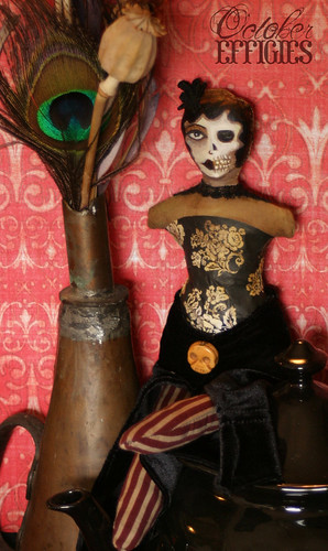half skull face handpainted doll