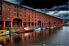 Liverpool, Albert Dock (Shertila Tony) Tags: old england water liverpool docks river boat europe yacht britain victorian 1000views nineteenthcentury merseyside wharehouse redboat platinumheartaward top20travelpix flickraward arethesebuildings worldheratige alberrdock skyheritage
