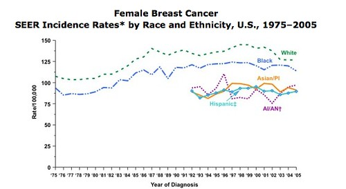 Breast ca incidence stats showing White women at highest risk