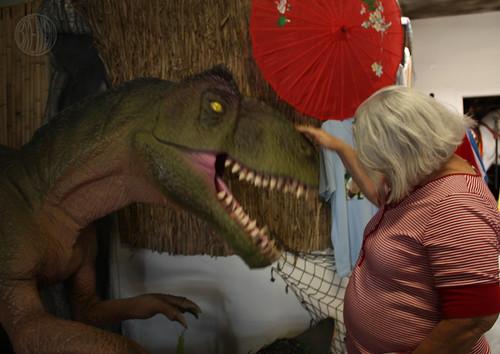 petting a t-rex