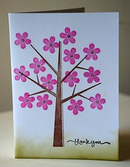 thank you pink flower tree card