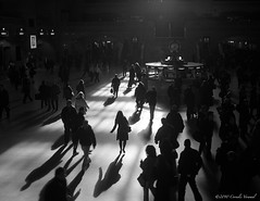 The Commuter Dance (CVerwaal) Tags: nyc newyorkcity newyork shadows silhouettes grandcentralstation traveling grandcentral olympustrip35 commuters metronorth grandcentralterminal