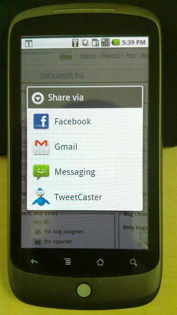 Sample menu image