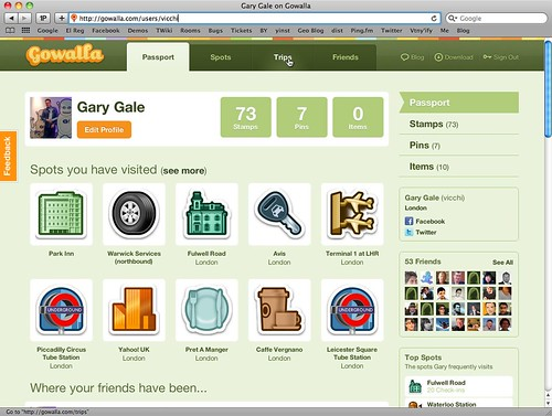 Tracking my journey; Gowalla