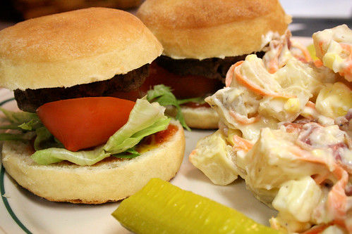 Sliders and Potato Bacon Salad.