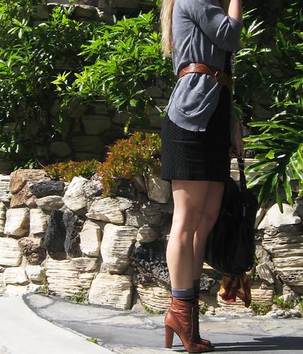 outfit cardigan littleblackdress whattowear samedelman bootswithsocks beltedcardigan ferragamobag