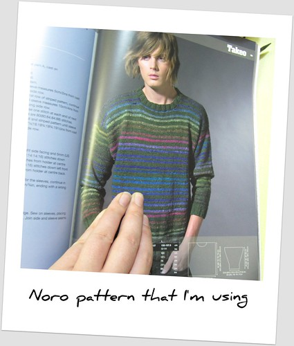 The Noro pattern that I'm basing Mark's sweater on