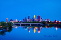 Minneapolis Water Colors (Doug Wallick) Tags: bridge blue sunset urban reflection minnesota skyline river mississippi colorful downtown path magic broadway plymouth minneapolis trail hour avenue lightroom a230 photomatix 3exposure