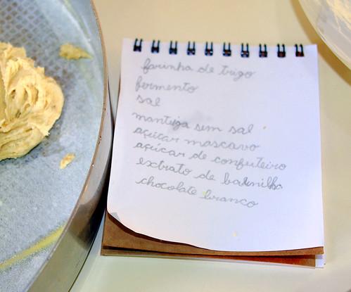 Ingredientes para os cookies