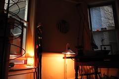 grey afternoon (omoo) Tags: newyorkcity windows art apartment interior westvillage diningroom antiques greenwichvillage countrytable greyafternoon fencepostsculpture