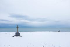 This Is A Place #1 (Levan Kakabadze) Tags: streetphotography color blacksea georia batumi man cross snow levankakabadzephotography fuji x100s sea thisisaplace