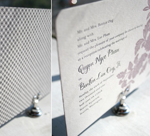 Letterpress Wedding Invitation by Smock with Patterned Backing