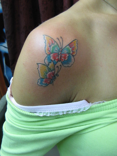 Tattoos Of Butterflies On Shoulder. Tattoos two utterflies on the