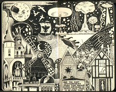The Stranglers: Midnight Summer Dream (black and white version) (pageofbats) Tags: moleskine illustration ink journal dream moulinrouge stranglers meninblack thestranglers kiplingwest