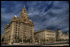 pier head (Lynn Meacock (lifes been getting in the way)) Tags: clock clouds liverpool northwest sony beatles a200 liverbird hdr pierhead offices merseyside royalliverassurance 3graces scouse photomatix cunardbuilding georgesdock princesdock capitalofculture2008 toffeelady72