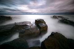 Pasteurised Goat's (dan barron photography - landscape work) Tags: longexposure light sunset seascape water clouds milk rocks waves web goats