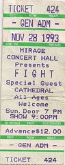 11/28/93 Fight/Cathedral @ Minneapolis, MN (Ticket)