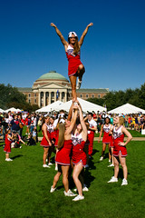 Liberty (Ian Aberle) Tags: girls people usa fall college students canon stars geotagged us university boulevard texas cheerleaders group quad homecoming tailgate tailgating smu 2009 universitypark stunts lightroom