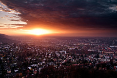 End Of Day (Dennis_F) Tags: city light sunset red sky sun rot fall clouds germany deutschland licht woods sonnenuntergang sundown sony herbst himmel wolken stadt 1750 redsky dslr tamron karlsruhe sonne durlach stimmung apocalyptic roterhimmel endofday rotlichtviertel herbststimmung a700 wlder tamronlens tamron1750 sonydslr tamron175028 herbstbild roteslicht apokalyptisch turmbergkarlsruhe thermonucleardevice alpha700 sonya700 sonyalpha700 dslra700 tamronobjektiv turmbergdurlach gettygermanyq2