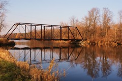 Rustic Walking Bridge (chumlee10) Tags: bridge reflection fall water wisconsin burlington river walking outdoors sony rustic whiteriver foxriver wi a300 chumlee10