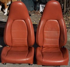 99PorscheCoupe1 (truckandcarseats) Tags: red leather 1999 porsche boxster coupe fronts