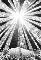 Fairytale, Reflection (Dan Newby) Tags: flowers urban businessman illustration fairytale buildings cityscape skyscrapers drawing perspective drawings suit fantasy forced forcedperspective urbanlandscape pencildrawing