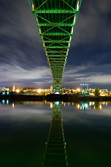 Volumes I Speak (Jon Asay ) Tags: bridge cloud reflection green night oregon river portland movement long exposure very fremont willamette