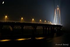 Bandra - Worli sealink (Anand Balaji) Tags: sea india skyline night long exposure cityscape pentax bombay link maharashtra arabian mumbai bandra worli sealink k100d justpentax