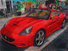 An oil pastel drawing of a Ferrari California. (Steve Brandon) Tags: auto show california city people ontario canada art car painting geotagged automobile arte display corsoitalia drawing pastel ottawa ferrari voiture dessin oil pedestrians littleitaly  ville grafica sportscar fca redcar oilpastel exoticcar   pastelpainting pasteldrawing   italiancar    prestonstreet autoart  illustrazione redcarnation     carlingavenue   ferrariclubofamerica ottawaartist automobileart ferraripainting ferraridrawing ferraricalifornia ferrariart illustrazioneferrari demonstrationzone  ferraricaliforniadrawing