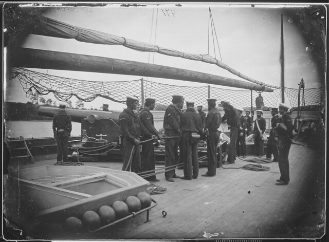 Gun crew on deck of quotMendotaquot  James River by The US National Archives