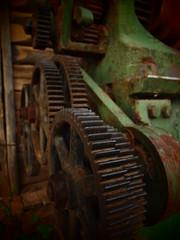 Gears (Shovelling Son) Tags: old green machine homestead cogs gears mildura lathe