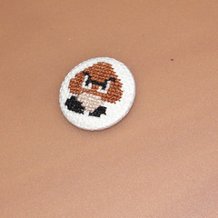 goomba2 (anonymityblaize) Tags: crossstitch pin nintendo mario badge button pinbackbutton