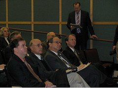 Congressman John Adler (seated far right);  NJ Secretary of Agriculture Doug Fisher; Dr. Joe Seneca,  Economist from Rutgers University;  Brian Schilling, Food Policy Institute of Rutgers University and Howard Henderson (standing), State Director, USDA Rural Development, intently listen during Jobs and  Economic Growth Forum