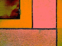 SMA wall detail #76 / thinking mondrian (msdonnalee) Tags: pink orange muro wall pared architecturaldetail  picasa rosa mura mur naranja mondrian picnik parede stucco posterized mauer  walldetail texturedwall ginp  mexicanwall postereffects photosbydonnacleveland murodemxico