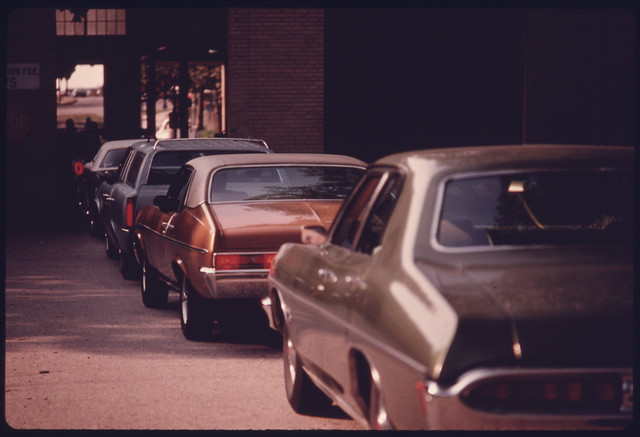 Motorists in Line at the Safety Lane at an Auto Emission Inspection Station in Downtown Cincinnati, Ohio...09/1975