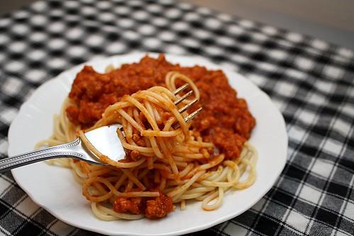 pasta on fork