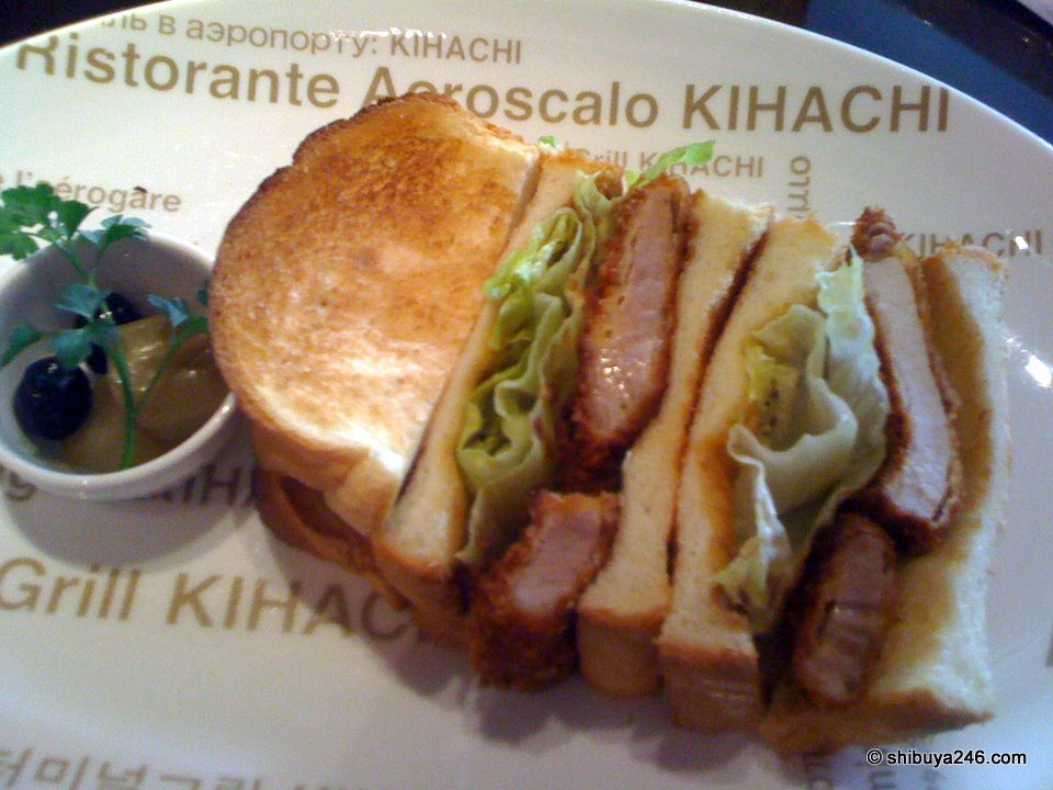 Tonkatsu sandwich on a Kihachi plate. Very tasty.