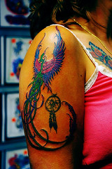 pheonix i didnt do anything else (Billy Whaley Tattoo) Tags: woman flower color bird tattoo star billy pheonix whaley