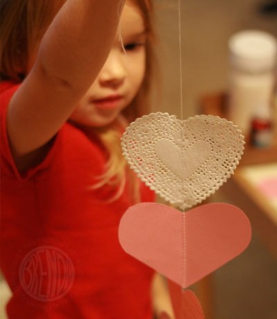 hanging paper hearts with string