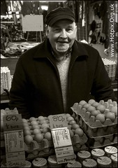 365-218 I Am The Egg Man (Hotpix [LRPS] Hanx for 1.5M Views) Tags: uk fab bw white man black men monochrome hat sepia liverpool john paul four mono hall george estate cheshire market britain 4 egg over stall tony gb council housing civic beatles 1960s van spill lennon ringo walrus mccartney mersey tdk 1960 rsl merseyside hotpix winsford thisphotorocks tdktony tonysmithphotography tdktonysmith