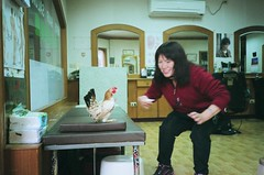 Woman in hairdressers tries to get her pet chicken to behave more like a chicken by doing a chicken dance (deepstoat) Tags: pet chicken film zeiss 35mm dance taiwan yashicat5 eggs hen cluck kodakportra deepstoat cockadoodledont