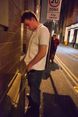 Is this what Capa had in mind? (pixel.eight) Tags: city uk greatbritain boy party england urban man streets wall club night manchester evening alley couple close unitedkingdom entrance nightclub lad gb nightlife pissing citycentre urinating disrespectful gratuitous 42ndstreet sidestreet urination robertcapa micturition revellers acrossthenation 20zone bootlestreet micturating spinninginhisgrave yourenotcloseenough ifyourpictureisntgoodenough pissingonalegacy