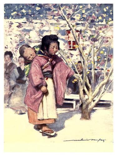 021-Niña con bebe-Japan  a record in color-1904- Mortimer Menpes